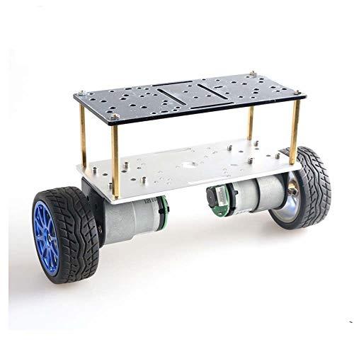 TMIL Auto-Equilibrio De Doble Capa 2 Chasis Robot WD, Chasis del Automóvil Inteligente De Dos Ruedas, Marco De Aluminio,Azul