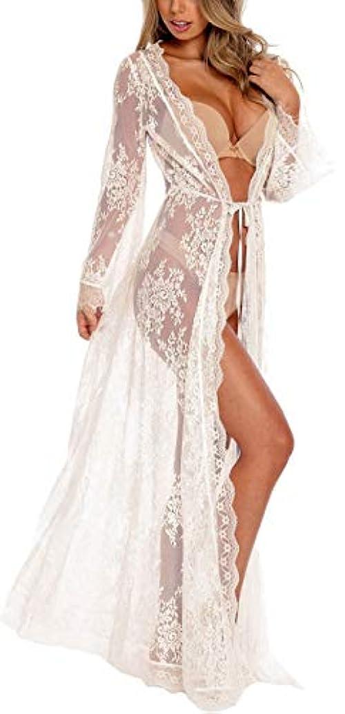 Womens Beach Wear Kimono Cover up Swimwear Bikini Lace Floral Long Maxi Beach Dress