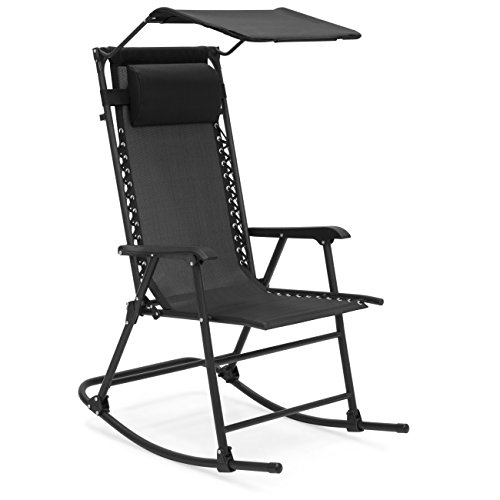 Best Choice Products Outdoor Folding Zero Gravity Rocking Chair w/Attachable Sunshade Canopy, Headrest - Black