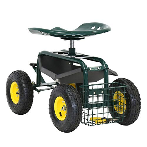 Kintness Garden Cart Rolling Wagon Scooter for Planting Swivel Work Seat with Tool Storage Utility Basket