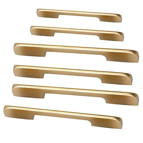 Juego de 4 tiradores de cocina de latón cepillado dorado y moderno minimalista, accesorios de hardware (7 siezs) (tamaño: 210 mm)