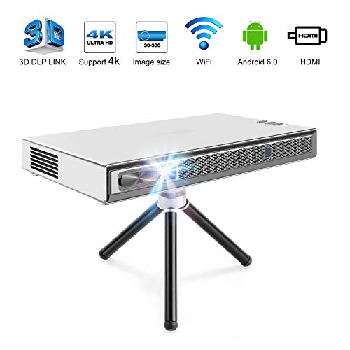 TOUMEI T5 Mini Proyector, Proyector Portatil Wifi 200 ANSI lúmenes, DLP Android con Home Cinema Bluetooth, Soporte 1080P 4K HDMI 3D DLP-LINK, Compatible con Fire TV Stick / PS3 / PS4 - Plata