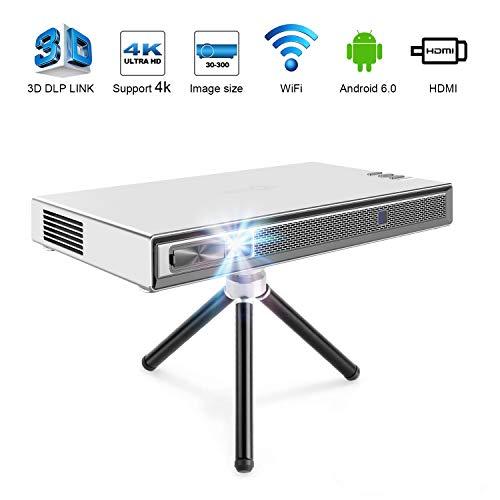 TOUMEI T5 Mini Proyector, Proyector Portatil Wifi 200 ANSI lúmenes, DLP Android con Home Cinema Bluetooth, Soporte 1080P 4K HDMI 3D DLP-LINK, Compatible con Fire TV Stick / PS3 / PS4 - Plata
