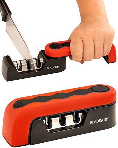 BladeAid Folding Knife Sharpener for Kitchen, Chef, Paring Knives. Professional Tool to Repair, Sharpen & Polish Blades. Strong, Stylish 3-Stage Manual Blade Sharpening Tool. Ergonomic Non-Slip Design