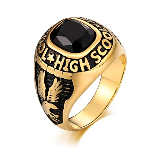Ubestlove Finger Ring Men Stainless Steel Wedding Vintage Ring Rectangle Eagle Graduated Style Oval Cubic Zirconia Ring Black T 1/2