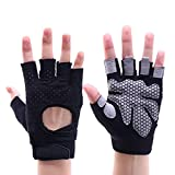 Guantes de trabajo al aire libre de medio dedo guantes de motocicleta sin dedos para senderismo escalada camping deportes (tipo B-negro M)
