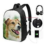 Laptop Backpack 17-Inch with USB Charging Port & Headphone Port for Men Women College School Casual Hiking Daypack-Codie Dog Companion Canine Animal Pattern