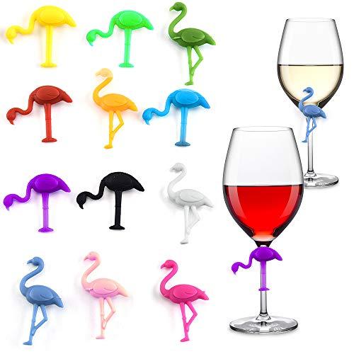 Gresunny 12 pezzi segnabicchieri silicone marcatori per bicchieri di vino per feste segnabicchier forma di fenicottero identificativi per vetri riutilizzabili marcatori per vino tazza per bar party