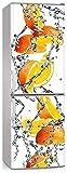 3D auto-adhésif réfrigérateur porte couverture de porte papier peint lave-vaisselle réfrigérateur pavillon d'autocollant arte de la porte de la porte ( Color : Red , Sticker Size : 60x66cm 24x26inch )