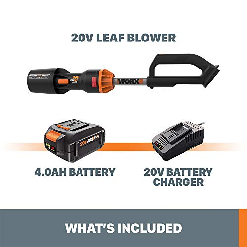 WORX WG543 20V Power Share LeafJet Blower, Black and Orange
