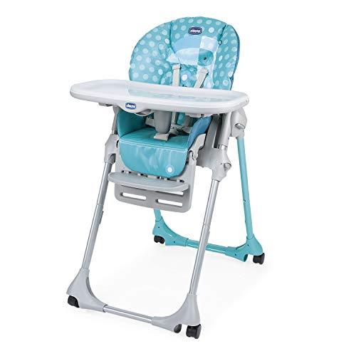 Chicco Polly Easy - Silla alta evolutiva y tumbona para bebés, reclinable con altura y reposapiés ajustables, 4 ruedas, cierre compacto – de 6 meses a 3 años (15 kg) – Tucano