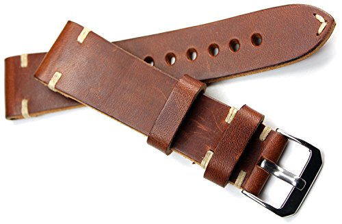 RIOS 1931 Herren Leder Uhrenarmband Vintage 22mm braun