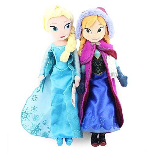Cute 16 Inches Plush Doll Princess Anna & Elsa Plush Dolls for Kids 1 Set Includes 2 Princess Anna & Elsa Plush Dolls