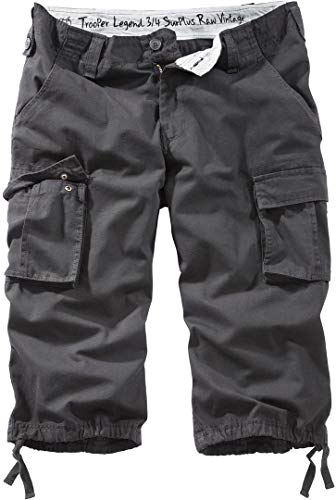 Surplus Raw Vintage Herren Cargo Trooper Legend 3/4 Shorts, schwarz, M