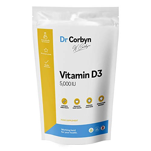 Dr Corbyn Vitamin D3 5,000 IU / 125 UG Tablets | One A Day Extra Strength Vitamin D3 (Cholecalciferol) | Highly Absorbable & Vegetarian Friendly (180 Tablets)