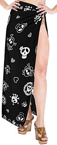 LA LEELA Vintage Piratas Calabaza Skulls Cráneo Disfraces De Halloween Costume mujeres de la falda del traje de baño encubrimiento pareo mujer playa beachwear bañar pareo mujer playa abrigo Negro_B874