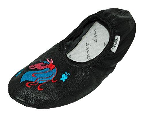 Lappa.de lappade Chaussures de Sport, Ballerines, Chaussures, Chaussons de Ballet, turnschläppchen, Chaussons, Chaussures DE Danse avec DE LA Broderie - Cheval Noir, 29 EU