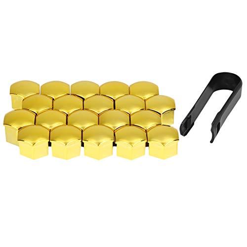 X AUTOHAUX 20Stk. 17mm Gold Plastik Auto Radmutter Radnabe Abdeckung Staubkappen