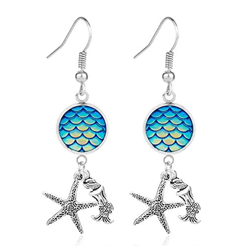 Pendientes de gota de sirena con escala de dragón y estrella de mar de Sirenita para niña pendientes de aleación de Metal para mujer regalo