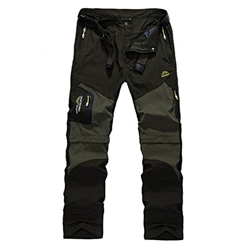 CIKRILAN Hommes Outdoor Séchage Rapide Wicking Détachable Zip Off Jambe Pantalon Élastique Stretch Respirant Sports Longue Trousers Randonnée Camping (4XL, Armée Vert)