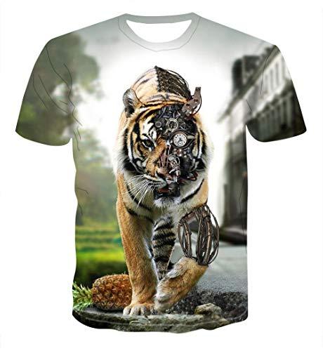 Hawaiihemd heren Funky Casual T-shirt unisex korte mouwen mechanische tijger T-shirts