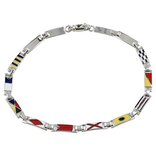 Gioiello Italiano - Bracciale da uomo'Bandiere Marinare' a placche in oro bianco 14kt, lunghezza 20cm
