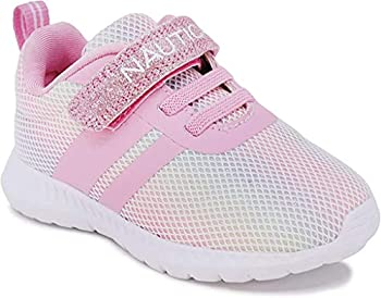 Nautica Kids Boys Girls Fashion Sneaker Athletic Running Shoe with Stap for Toddler and Little Kids-Towhee-Rainbow Sparkle-10
