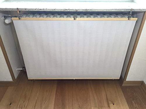 Heizkörperverkleidung originelle und einzigartige in Weiß aus Kiefer Holz und wärmedurchlässigem Material, für Heizkörper unter Fensterbänken (Nische) oder Ablagen. Bereits ZUSAMMENGEBAUT