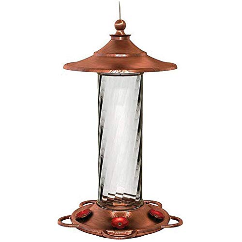 More Birds Glory Hummingbird Feeder, Glass Bottle, 5 Feeding Ports and 14-Ounce Nectar Capacity