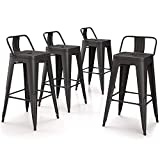 VIPEK 26 Inches Metal Counter Height Bar Stools Counter Stools Set of 4 Low Back Barstools 26' Industrial Dining Chairs Patio Chair Bistro Cafe Kitchen Bar Chairs, Matte Black