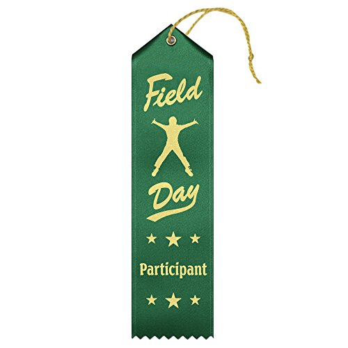 Field Day Participant Ribbons - 50 Count Value Pack with Card & String Metallic Gold foil Print – Made in The USA -  Ribbons Now, Part-PFD - 100