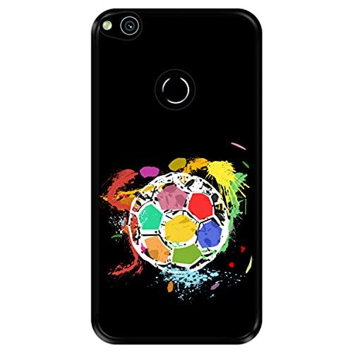Funda Negra para [ Huawei P8 Lite 2017 - P9 Lite 2017 - Nova Lite ] diseño [ Balón de fútbol Abstracto, Multicolor ] Carcasa Silicona Flexible TPU