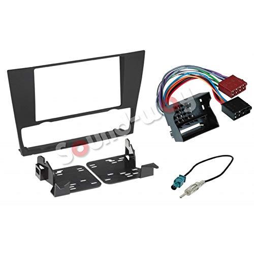 Sound Way Kit Montaggio Autoradio, Mascherina 2 DIN, Staffe di Montaggio, Cavo Adattatore Connettore ISO, Adattatore Antenna Fakra Compatibile Serie 3 E90 E91 E93