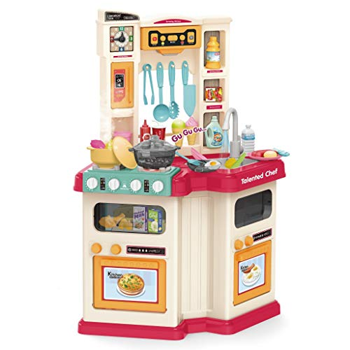 MORECON [Ship from US] Kitchen Cabinet Playset, Kids Play Kitchen with Realistic Lights & Sounds,Simulation of Spray, Play Sink with Running Water,Dessert Shelf Toy Accessories for Girls Boys