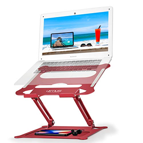 Urmust Laptop Notebook Stand Holder, Ergonomic Adjustable Ultrabook Stand Riser Portable with Mouse Pad Compatible with MacBook Air Pro, Dell, HP, Lenovo Light Weight Aluminum Up to 15.6'(Red)