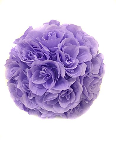 Ben Collection Fabric Artificial Flowers Silk Rose Pomander Wedding Party Home Decoration Kissing Ball Trendy Color Simulation Flower (Lavender, 25cm)