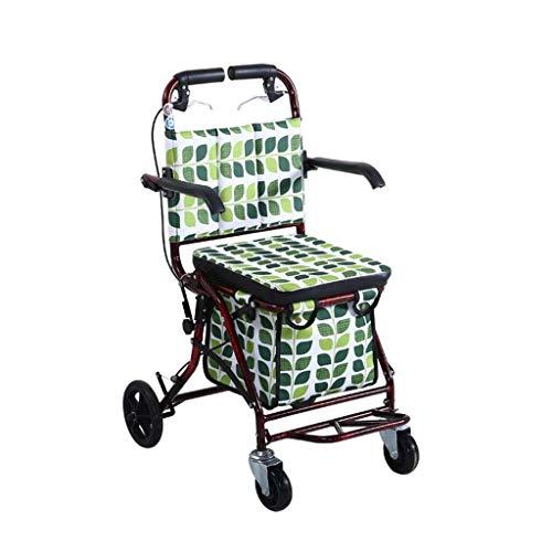 HHXX Winkelwagens, Oude Man Draagbare Vierwielige Walker Neem een Opvouwbare Rolstoel Met rugleuning, gevoerde zitting en voetsteun
