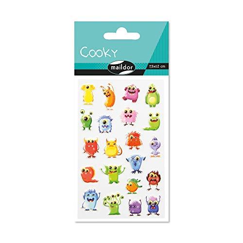 Maildor 560503C Packung mit Stickers Cooky 3D (1 Bogen, 7,5 x 12 cm, ideal zum Dekorieren, Sammeln oder Verschenken, Monsters) 1 Pack