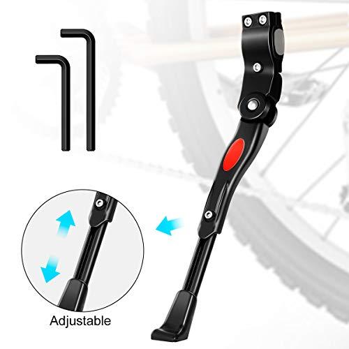 MojiDecor Fahrradständer für 24-28 Zoll, Höhenverstellbarer Seitenständer aus Aluminiunlegierung mit Anti-Rutsch Gummifuß für Mountainbike, Rennrad, Fahrräder und Klapprad