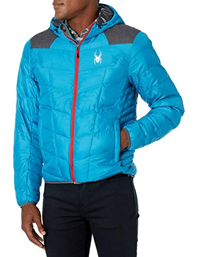 Spyder Men's Geared Hoody Synthetic Down Jacket, Electric Blue/Polar Crosshatch/Formula, Small