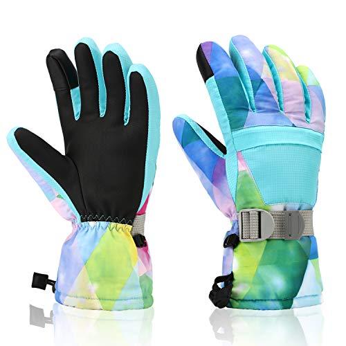 Ski Gloves, Yidomto Winter Waterproof Warm Touchscreen Snow Gloves Mens, Womens, Boys, Girls, Kids (Light Blue-XS)