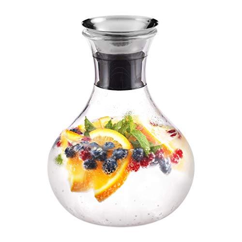 Relaxdays Glaskaraffe bauchig, 1,5 Liter, Gastro, Edelstahl Ausgießer, feines Kristallglas, spülmaschinenfest, klar