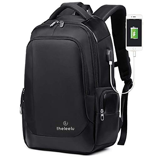 theleelu Anti-Theft Waterproof Backpack - Men's Bag for Travel, Work, Business, College - Smart Gear & Tech Carryon Luggage with Laptop Compartment, USB Charging Port, Side Pocket - 14-Inch - Black