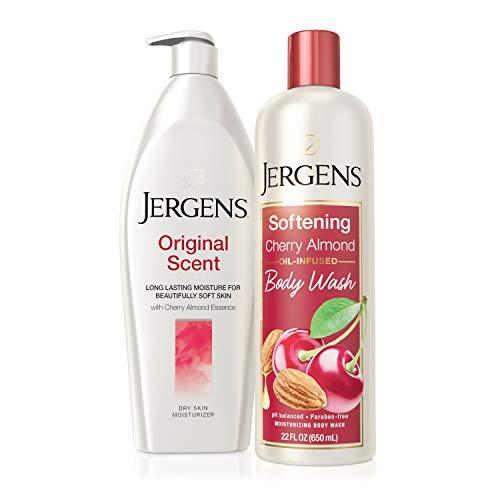 Jergens Softening Cherry Almond Body Wash 22 FL OZ with Jergens Original Scent Dry Skin Body Moisturizer with Cherry Almond Essence, 21 Ounces