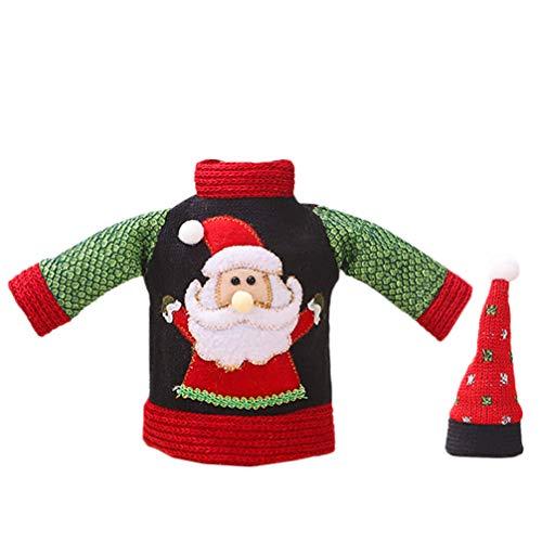 ABOOFAN Decoración de La Cubierta de La Botella de Vino de Navidad Suéter de Punto Centros de Mesa de Navidad Decoraciones