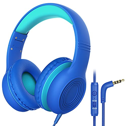 Kids Headphones with Microphone Over Ear/On Ear Wired Headphones for Kids with Volume Limit Switch 85dB/94dB and HD Sound Sharing Function for Children, Boys, Girls, Tablet, PC, School, Travel