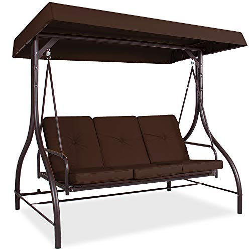 Best Choice Products 3-Seat Outdoor Large Converting Canopy Swing Glider, Patio Hammock Lounge Chair for Porch, Backyard w/Flatbed, Adjustable Shade, Removable Cushions - Brown