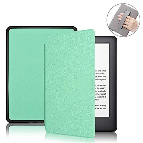 FAN SONG Funda para Nuevo Kindle 2019 E-Reader, Delgado Patrón Cruzado Cubierta de Cuero PU con Función Auto de Sueño/Estela y Correa de Mano para 10.ª Generación 6 Pulgadas (Verde Menta)