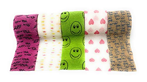 LisaCare Kinderpflaster selbsthaftend - elastisches, wasserfestes, staub- fett- und schmutzabweisendes Pflaster - bunte Motive - 5 Rollen á 5cm x 4,5m (Mix2-5cm)