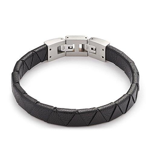 Leonardo Jewels Damen Herren Armband Men Padua Edelstahl Leder schwarz 22.5 cm 016425